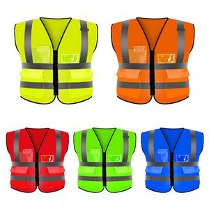 Reflective Safety Vest High Visibility W/ Multi Pockets