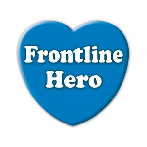 """Blue Hearts for Heroes"" Frontline Hero Button, (Made in the U.S.A.)"