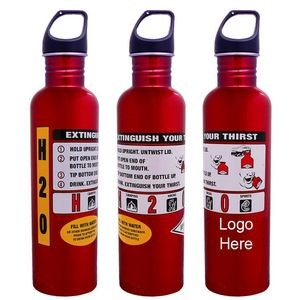 3/4 Liter Red Fire Extinguisher Aluminum Sport Bottle w/ Optional Carabiner (Screen)