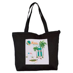 Top Zippered Black Cotton Tote