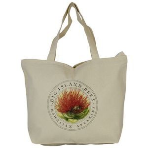 Top Zippered Natural Cotton Tote