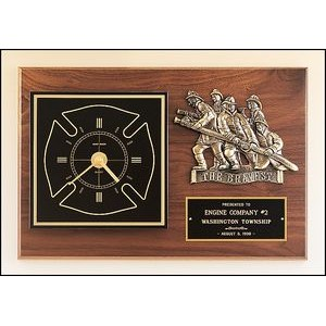Walnut Piano Finish Plaque, Fireman, 12x18""