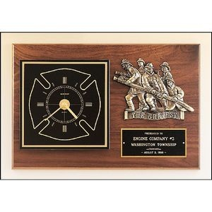 Fireman Award Clock with Antique Bronze Finish Casting. 12 x 18
