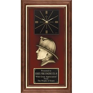 Walnut Maltese Cross Clock Fireman Profile