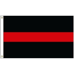 2' x 3' Thin Red Line Flag w/ Heading & Grommets